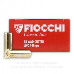 Fiocchi .38 Wadcutter LWC ammunition